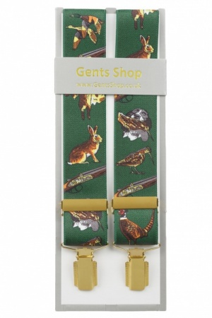 Green Trouser Braces with Pheasants Dogs and Hunting Designs